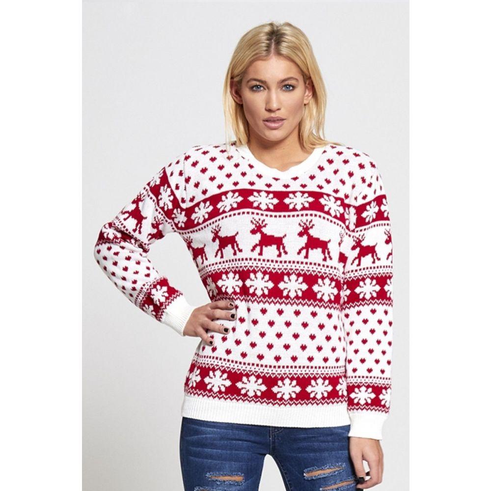 Kersttrui Dames Rood.Dames Kersttrui Noordpool Wit Rood Kersttruienkopen Nl